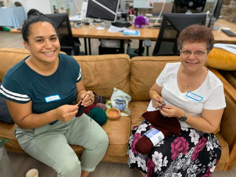 Our happy volunteers - finding a place to help out on the couch was a good option!
