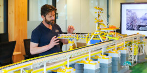 Randall Makin (Waterline CEO) making some final tweaks upon delivering the completed 3d-print to BHP
