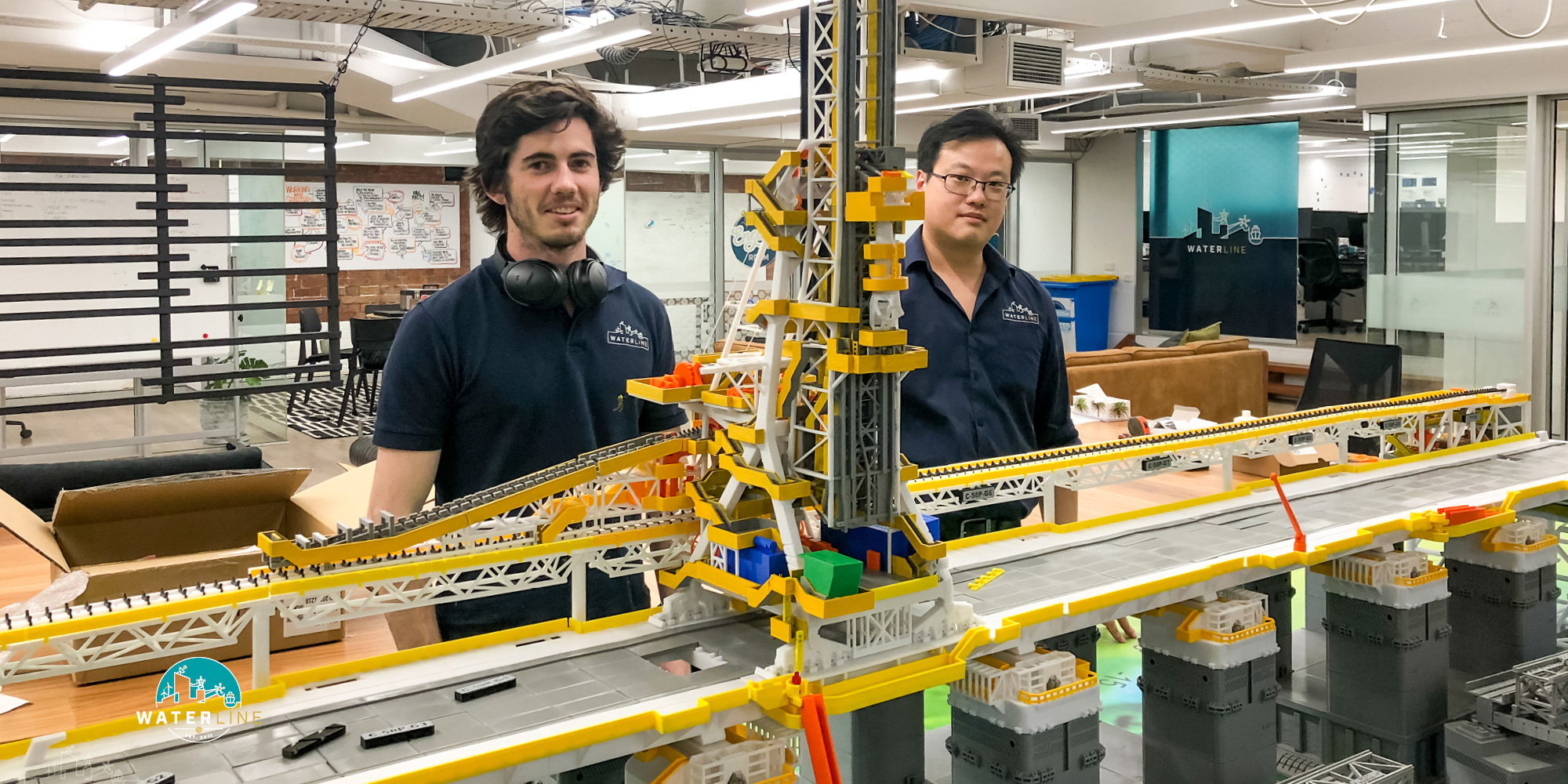 Brenton and Mike during construction of the 3D-printed shiploader and berth