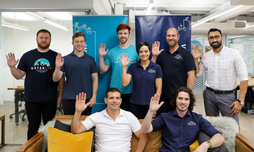 Waterline celebrates it's amazing women by striking the #ChooseToChallenge pose to raise awareness of International Women's Day 2021 at Waterline HQ in Brisbane